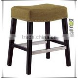 Linen material wood frame ottoman chair with brass nails - (DO6214B-1)