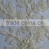 2016 decorate fine pearl beading and cord lace embroidered patch lace applique for bridal