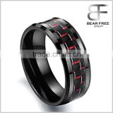 8MM Men's Ceramic Ring Wedding Band Black Plated with Carbon Fiber Inlay and Beveled Edges