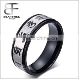 Mens Stainless Steel Free Engraving Rings Buddhist Scripture Bands Black Silver 8mm