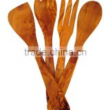 handMade Kitchen Artesian Collection 4 Piece Olive Wood Salad Serving Tongs and Cooking Utensil Set