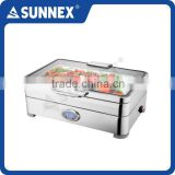 SUNNEX 2016 New Design High Quality Stainless Steel Full Size 13.5Ltr. Big Glass Window Lid Buffet Electric Chafing Dish