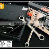 High Quality Double Ratchet Offset Ring Spanner Set Tool Kit with Iron Box