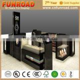 FUNROAD 2015 beauty lockable plywood lacquered black finish watch display showcases for sale from China