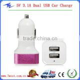 5V 3.1A Dual USB Port Mini USB Car Charger Power Adapter for iPhone/Android Phones/Tablet PC With Aluminium Alloy