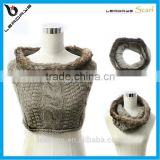 fashion faux fur trim neck warmer infinity blend wool polyester knit scarf, wool scarf, polyester scarf