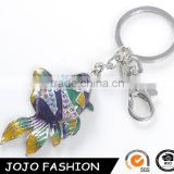 3D Mini Goldfish Shaped Customized Printing Logo Key Chain Diamante Colorful Enamel Fish Keychain