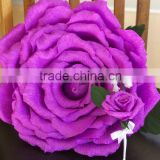 Handmade Purple Rose Diameter 13 inches, Large Paper Flower, Purple Wedding Bouquet, Bright Purple Large Rose