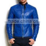 Pakistan Produces Blue Fashion leather jacket For Men
