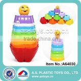 Education colorful plastic baby stacking cups toys