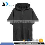 hot sale good quality 100 % cotton with pockets black casual half zipper fashion men t-shirt hoodies production