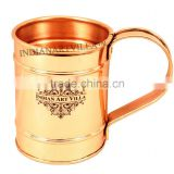 IndianArtVilla Pure Copper Long Flate Mug Moscow Mule Cup 500 ML - Serving Beer Wine Cocktail Bar Hotel Restaurant Drinkware