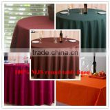 "100% MJS elegant 110"" diameter round size wholesale wedding table linens"