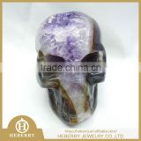 small size carved natural amethyst quartz skulls with geode all by handmade good for art collection