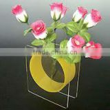 Acrylic square vase/clear frame and yellow circle vase