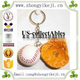 2015 chinese factory custom made handmade carved hot new products resin sports gift items of Baseball Keychain