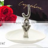 Gold Plated Ceramic JOY Jewelry Dish Ring Holder