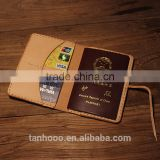 Genuine leather passport holder wallet slim travel wallet passport holder in embossed logo
