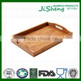 Rectangular Eco-friendly Bamboo Food Serving Tray With Handles: Serve Food, Coffee, Tea or Use as Party Platter