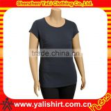 OEM simple classic blank grey o-neck short sleeve cotton tight fit ladies t-shirt dresses