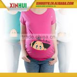 OEM custom made cotton spandex high quality cute printed wholesale blank maternity t shirts