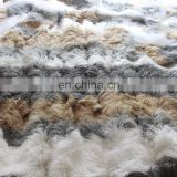 King Size 120x120 inch Monglian Lamb Hide Fur Bedspread Tibetan Sheepskin Bed Throw