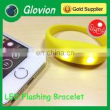 Top selling Flashing sound activated led bracelet with screen logo print