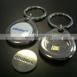 zinc alloy trolley coin holder Gifts promotional full color logo token shopping trolley coin keyring for souvenir