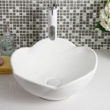 Good sale popular ceramic above tabletop special home decoration no hole design table flower shape bathroom sinks