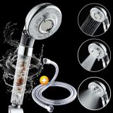 Plastic 4 functions negative ion stone filtering with rotating pipe hand shower head