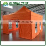 Aluminum Folding Trade Show Tent 4x4m ( 13ft X 13 ft) with Orange Canopy & Valance(Unprinted), 4 full walls with windows & door