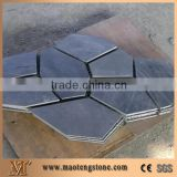 Xingzi Black Slate Flagstone Patio Flooring Pavers,Dark Grey Slate Flagstone Wall Cladding for Walkway/Driveway/Courtyard/Garden