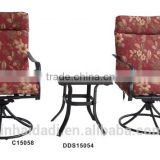 outdoor steel furniture Swivel Rocker chair with cushion 3 pcs patio set dining set garden set