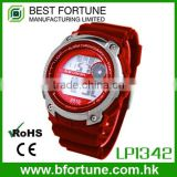 LP1342_RD Red color Chrono Alarm Date/Day Tech digital Multifunction custom digital plastic watch