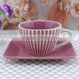 new design ceramic tea cup and saucer coffee cup and saucer with decal printing