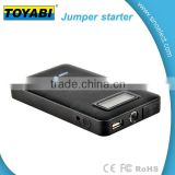 Mini Portable Car Jump Starter Power Bank with 6000mAh capacity LED light and LCD screen to show the Power