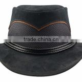 2015 FASHION STYLISH BROWN BLACK COWHIDE HEAD N HOME SUEDE LEATHER OUTBACK HAT FOR MENS