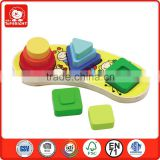 china new product megge shape stacker board 9 pcs different shape for baby regnize montessori wood toys