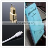 OEM black white gold logo printing retail package with micro cable US EU plug 5v 1.5a usb flash drive charger