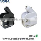 HIGH QUALITY 2.1A Dual USB Car Charger and Wall USB Charger in One, Best Portable Phone Charger for Home and Travel Use