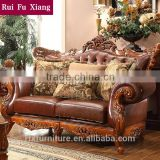 American classic style luxury cowskin genuine leather sectional sofa set with double-sided hand carving N-235