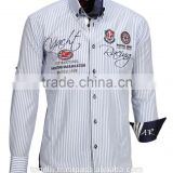 Elegant button down striped light blue long sleeve satin 100% cotton slim fit embroidered men's shirts