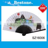 Popular foldable souvenir bamboo hand fan for wedding