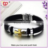 Chinese Manufacturer Maxfresh Stainless Steel Jewelry Bracelet with Genuine Leather length adjustable