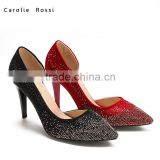 Custom christmas red color cheap high heel pumps for women diamond shoes