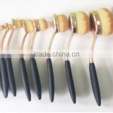 OEM quality toothbrush shape bold metal handle customized rose gold oval makeup brush set