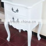 French Bedroom Furniture - Antique White Nightstand Furniture - 2 Drawers Nighstand with Handle