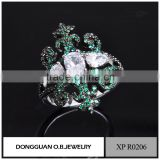Costume jewelry supplies fashion black gold jewelry green stone finger ring
