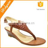 Women shoes factory woven T BAR aerosoft sandals thick sole shoes,wedge high heel flip flops