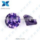 Synthetic round brilliant cut stone star cut cz stone